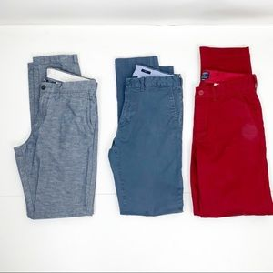 J. Crew 29 / 32 slim pant bundle blue red linen